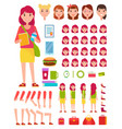 young girl construction set vector image