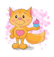 cute little fox with kapkejkom vector image