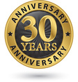 30 years anniversary gold label vector image vector image