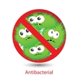 Antibacterial sign with a funny cartoon bacteria vector image