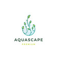 aquascape leaf tree water drop logo icon vector image