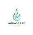 aquascape leaf tree water drop logo icon vector image vector image