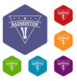badminton icons hexahedron vector image vector image