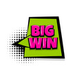 big win comic text white background vector image