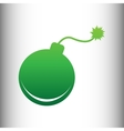 bomb sign green gradient icon vector image vector image