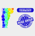 bright mosaic vermont state map and distress huge vector image vector image