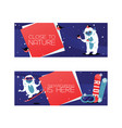 cartoon cute yeti characters snowboarding in vector image