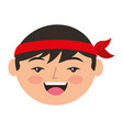 cartoon face cartoon happy chinese man vector image