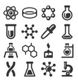 chemistry science icons set on white background vector image