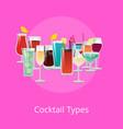 cocktails types poster summer drinks set vector image vector image