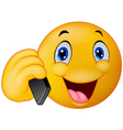 Emoticon smiley talking on cell phone vector image