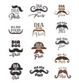 fathers day holiday icons with mustaches and hats vector image vector image