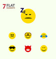 flat icon expression set of pouting happy cross vector image vector image