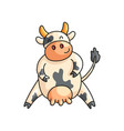 funny smiling spotted cow with paws on sides vector image vector image