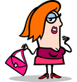 funny woman with bag cartoon vector image vector image