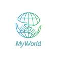 globe with hand logo vector image