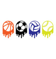 gray sport balls set vector image vector image