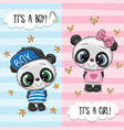 greeting card with cute pandas boy and girl vector image vector image
