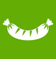 grilled sausage icon green vector image