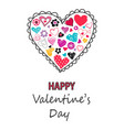 hand drawn hearts icon valentines day card vector image