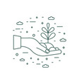 hand holding plant icon in line art vector image vector image