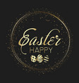 Happy easter card with golden eggs and sparkles