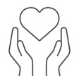 heart in hands thin line icon love and care arms vector image vector image