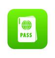 international passport icon green vector image vector image