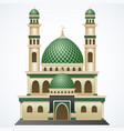 islamic mosque building with green dome and two to vector image vector image