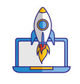 laptop computer rocket startup success vector image vector image