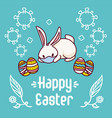 lying on ground easter bunny with a face mask vector image vector image
