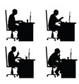 Man silhouette sitting with laptop in office