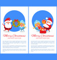 merry christmas happy new year santa snow maiden vector image vector image