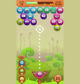 mobile bubble shooter game screen vector image