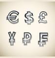 money symbols set vector image vector image