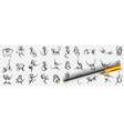 monkeys enjoying life doodle set vector image