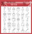 new year thin line icon set christmas symbols vector image
