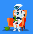 old robot with glasses knitting a sock vector image vector image
