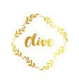 olive label golden ornamental border vector image vector image