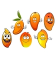Orange and yellow cartoon mango fruits vector image vector image