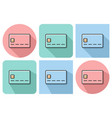 outlined icon of bank card with parallel and not vector image vector image