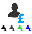 person pound loan flat icon vector image vector image