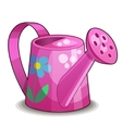 Pink watering can isolated on white background vector image vector image