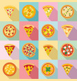 pizza icon set flat style vector image