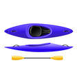 plastic kayak for rafting and tourism blue canoe vector image
