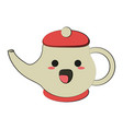 porcelain tea jug cute kawaii cartoon vector image