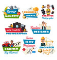 professions icons with farmer builder and tailor vector image vector image