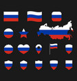 russia flag icons set russian flag symbols vector image