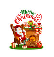 santa claus with christmas fireplace and gift icon vector image vector image