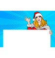 santa woman showing okay gesture action with vector image vector image